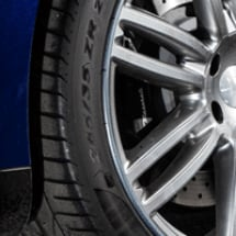 Close up of alloy wheel with AlloyGators