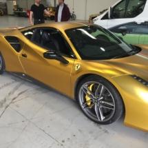Gold Ferrari With Silver Alloys, Silver AlloyGator Alloy Wheel Protectors & Yellow Brake Callipers