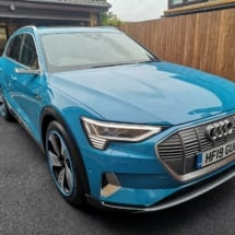 Side View Of Blue Audi With Sky Blue AlloyGators AlloyGators