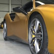 Gold Ferrari With Silver Alloys, AlloyGator Alloy Wheel Protectors & Yellow Brake Callipers
