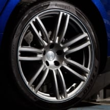 Close up of a Maserati alloy Wheel and Perelli Tyres