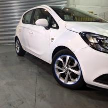White Vauxhall Corsa With Sky Blue AlloyGators