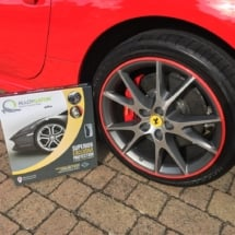 Close Up Of Ferrari With Red AlloyGator Alloy Wheel Protection