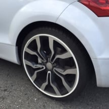 Close Up Of White Audi With Silver Alloy Wheels And White AlloyGator Rim Protectors