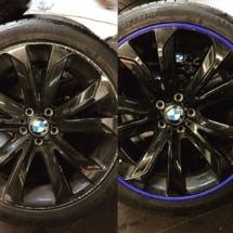 Before And After Installation Image Of Blue AlloyGator Wheel Protector Been Used To Hide Significant Damage To Black BMW Alloy Wheels.