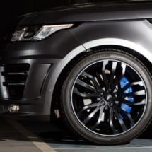 Close Up Of A Land Rover Black Alloy Wheel With Graphite AlloyGator Alloy Wheel Protection