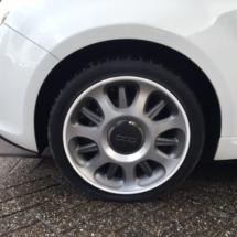 Close up White Fiat 500
