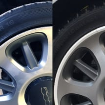 Close up of Fiat alloy wheel and tyre