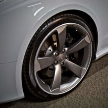 Close Up Of Grey Audi Alloy Wheel With Graphite AlloyGator Wheel Rim Protectors