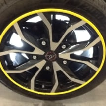 Wolfrace Alloy wheels With Yellow AlloyGator Wheel Rim Protection