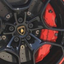 Close Up Of Lamborghini Alloy Wheel With Red AlloyGator Alloy Wheel Protectors & Red Break Callipers