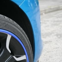 Close Up Of A Blue Citroen With Dimond Cut Silver And Black Alloy Wheels And Blue AlloyGator Alloy Wheel Rim Protector