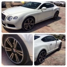 Multiple Views Of White Bentley With Silver Alloy Wheels With Silver AlloyGator Wheel Rim Protector