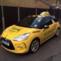Front / Side View Of Yellow Citroen With Dimond Cut Silver And Black Alloy Wheels And Yellow AlloyGator Alloy Wheel Rim Protector