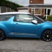 Side View Of A Blue Citroen With Dimond Cut Silver And Black Alloy Wheels With Blue AlloyGator Alloy Wheel Protector