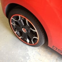 Close Up Of A Orange Citroen With Dimond Cut Silver And Black Alloy Wheels And Orange AlloyGator Alloy Protector