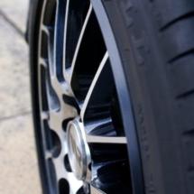 Close Up Of Honda Silver Alloy Wheel With Black AlloyGator Alloy Wheel Protector