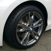 Close Up Of BMW Alloy Wheel With Black AlloyGator Wheel Protection And Blue Break Callipers