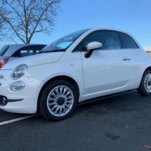 White Fiat 500 with White AlloyGators
