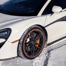 Close up of a White Car with Orange AlloyGators
