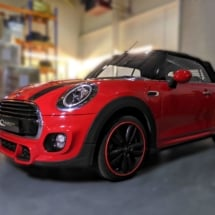 Red Mini With Red AlloyGator Wheel Protectors