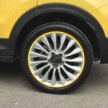 Yellow Fiat 500 with Yellow AlloyGators