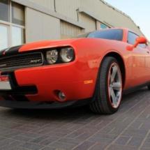 Orange Dodge Challenger with Orange AlloyGators