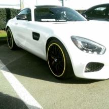 White Mercedes with Yellow AlloyGators